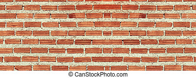 Red, Brown brick wall texture panorama
