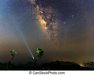 The milky way over the mountain