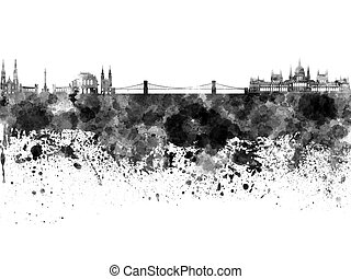 Budapest skyline in watercolor on white background