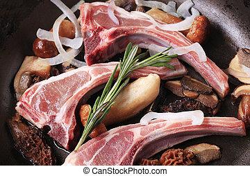 cordero, Corta, y, mushrooms, ,