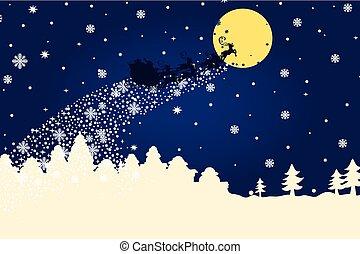 Christmas templateSilhouette Santa Claus coming to City -...