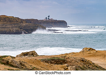 Sea and rocks in Peniche, Portugal - View of the ocean...