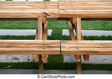 Wood table with bench