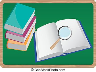 books and magnifying glass