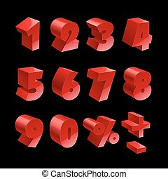 Red shiny 3d thick numbers isolated font on black background