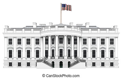 White House South View - Digital illustration of the south...