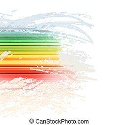 Grunge rainbow brush stroke with stripes on white background
