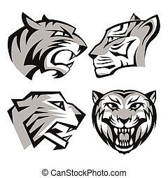 Black and grey tiger head logos set for business or shirt...