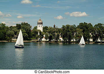 Deutschland - Germany, tower of the nunnery in the Chiemsee...