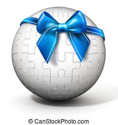 3d spherical puzzle with bow