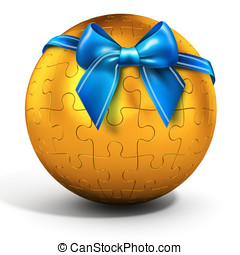 3d golden  spherical puzzle with bow