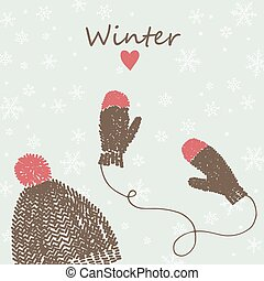 card with knitted cap and mittens