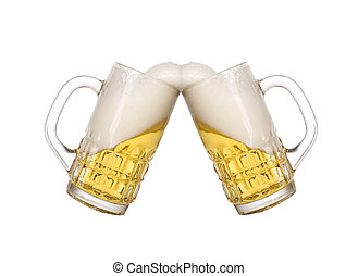Glass of golden cold beer - Nice glass with cold beer and...