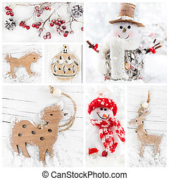 Collage of christmas decorative toys - Collage of christmas...