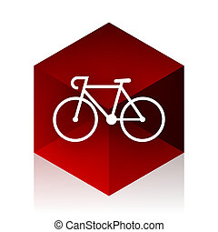bicycle red cube 3d modern design icon on white background