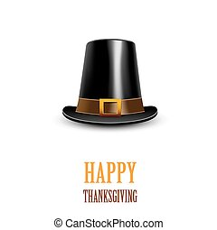 Pilgrim hat Thanksgiving symbol - Pilgrim hat on a white...