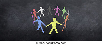 Colorful Team Work - A colorful group of characters pull...