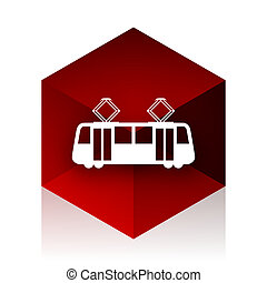 tram red cube 3d modern design icon on white background