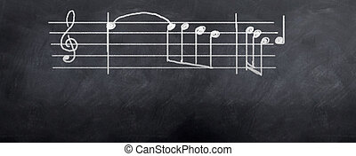 Music Notes - Music notes written on the blackboard for the...