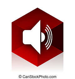 volume red cube 3d modern design icon on white background