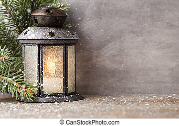 Lantern. - Lantern with christmas tree, Christmas decor....