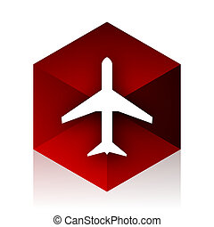 plane red cube 3d modern design icon on white background