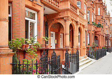 Row of red bricks houses in London