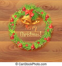Christmas wreath with bells on a wooden background