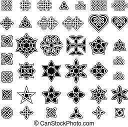39 Celtic style knots collection, vector illustration, black...
