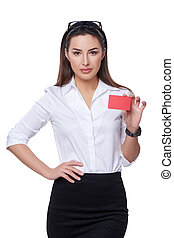 Business woman holding credit card isolated on white...