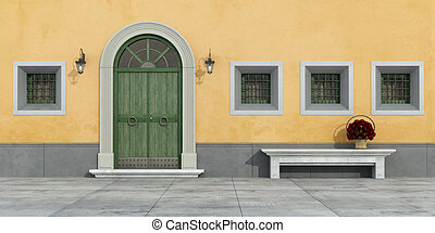 Old facade with doorway - Old facade with green...