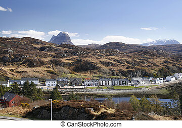 Scottish village of Lochinver on a sunny spring day with...