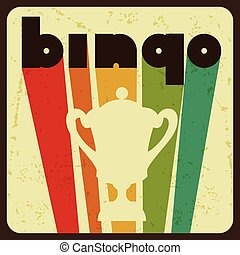 Bingo or lottery retro game illustration with award