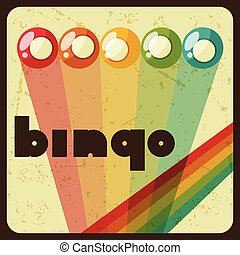 Bingo or lottery retro game illustration with balls