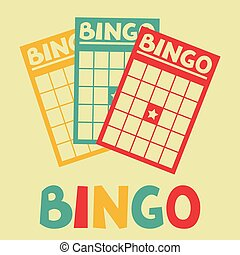 Bingo or lottery retro game illustration with cards