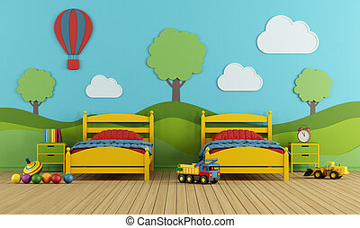 Children's bedroom with two single beds