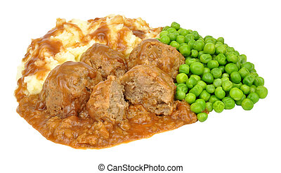 Meatballs And Mashed Potato Meal - Pork meatball faggots and...