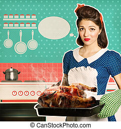 Young woman overlooked roast chicken in an oven