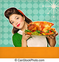 Reto chicken background for text Housewife portrait and her...