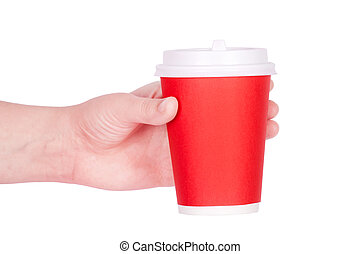 disposable red cup of coffee