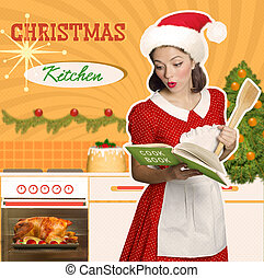 Young attractive housewife cooks christmas food - Retro...