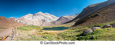Lake in the near of Aconcagua - A trekking trip to the Plaza...