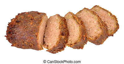 Cooked Meatloaf - Sliced cooked meatloaf isolated on a white...