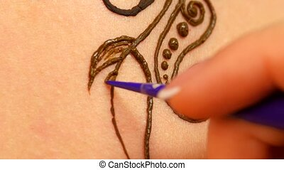 Drawing process of henna mehendi ornament on back - Drawing...