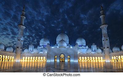 jeque, Zayed, mezquita, noche, Abu, Dhabi, unido,...