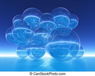 blue bubble - transparent bubble on blue background