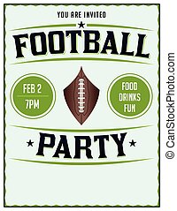 American Football Party Illustration Flyer Poster - A poster...