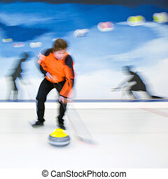Curling brooming - Curling player influencing the curvature...