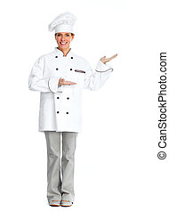 Chef woman presenting copy space - Beautiful Chef woman...
