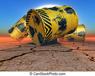 radioactive waste - barrels of radioactive waste in the...